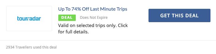 Last minute TourRadar promo code