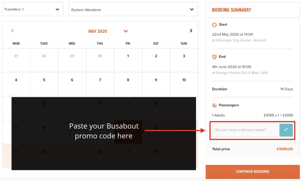 Instructions on where to paste your Busabout discount code on the Busabout website