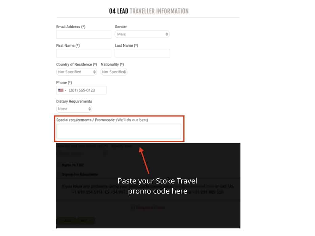 Instructions on where to paste your Stoke discount code when booking online