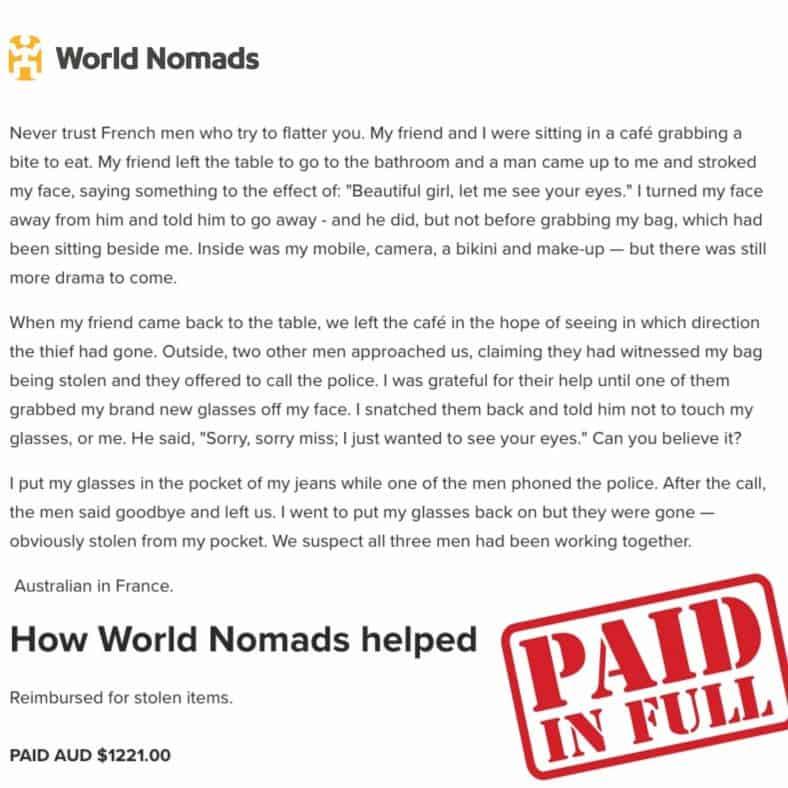 World Nomads Real-Life Claim Pickpocket