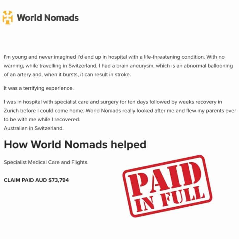World Nomads Travel Insurance Review brain aneurysm