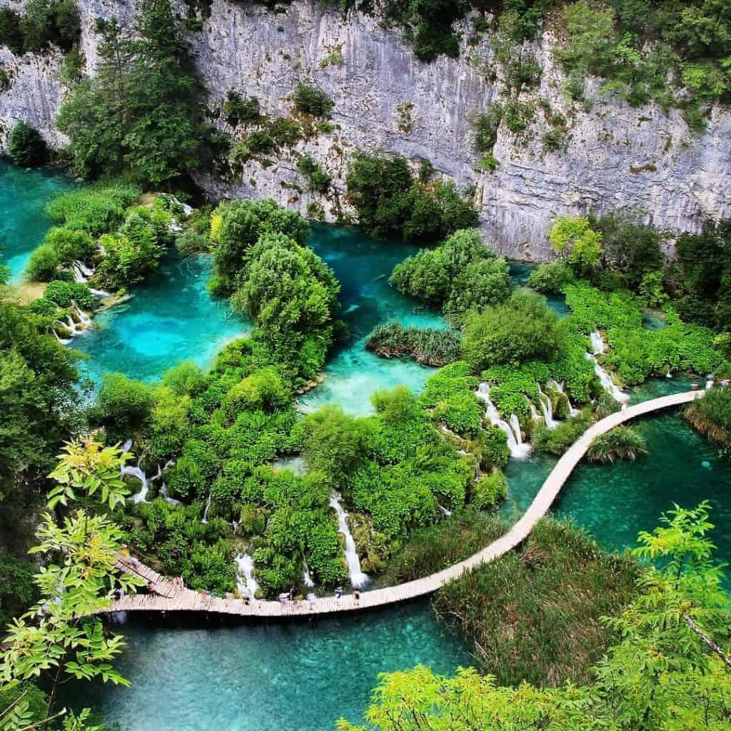 Aerial photo of Plitvice Lakes