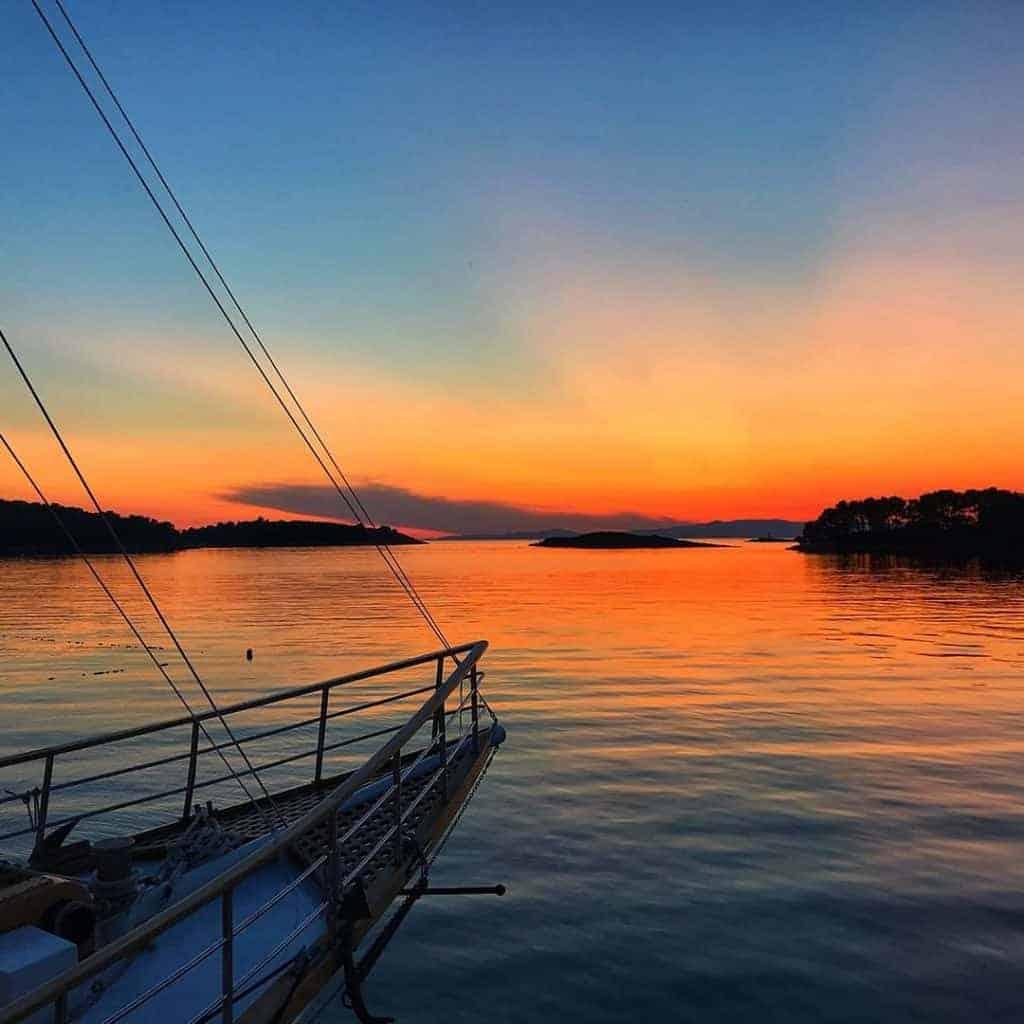 Beautiful sunset in Hvar, Croatia