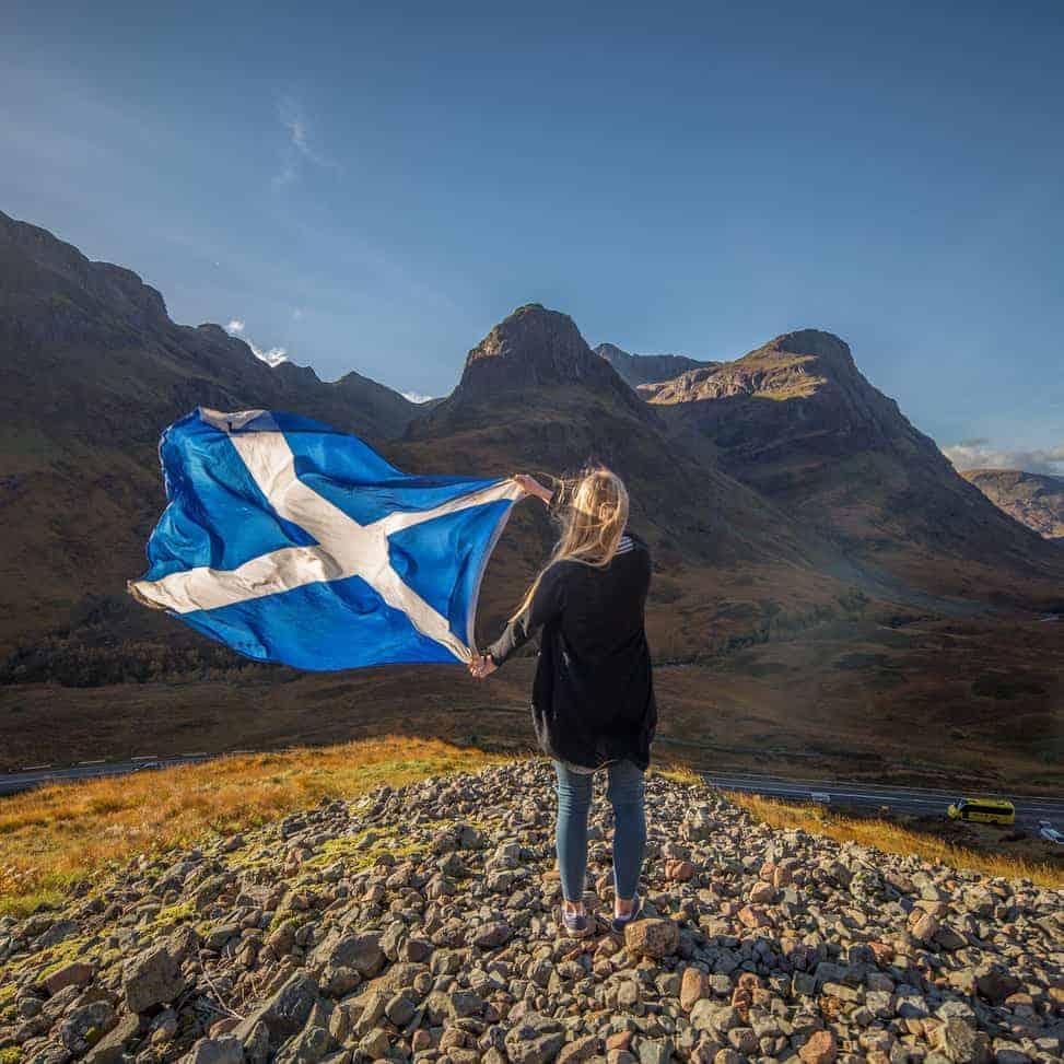 Girl with Scottish flag