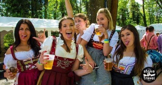 Group of women travellers on a Stoke Travel Oktoberfest trip