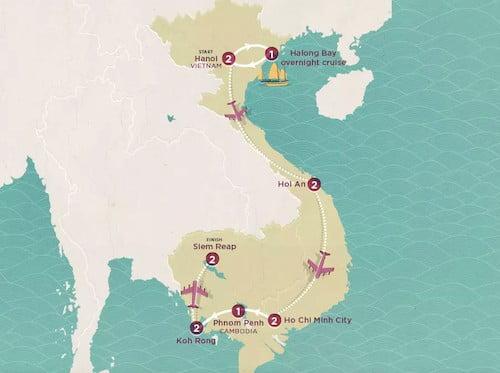 Topdeck's Vietnam & Cambodia Explorer tour map