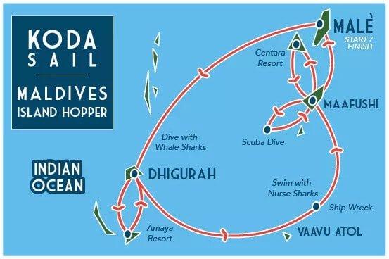 Koda Sail Maldives Island Hopper map